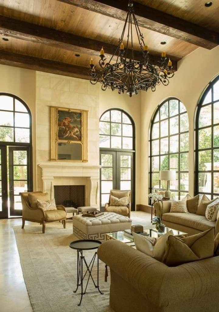 A High Ceiling and a Chandelier