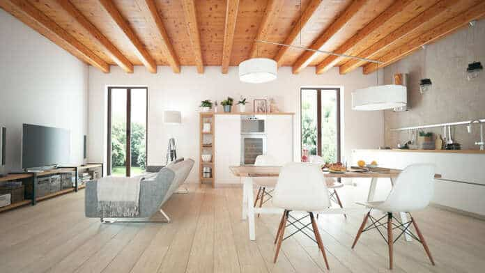 Exposed Wooden Beams for a Farmhouse Look