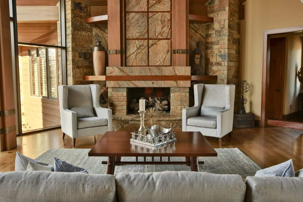 A French Country Living Room with a Fireplace