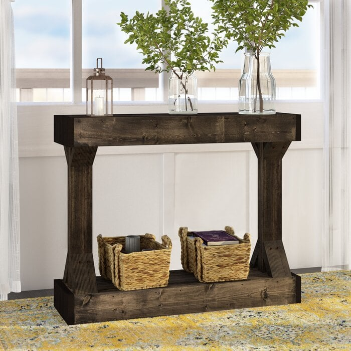 Get a Symmetrical Dark Wooden Console Table