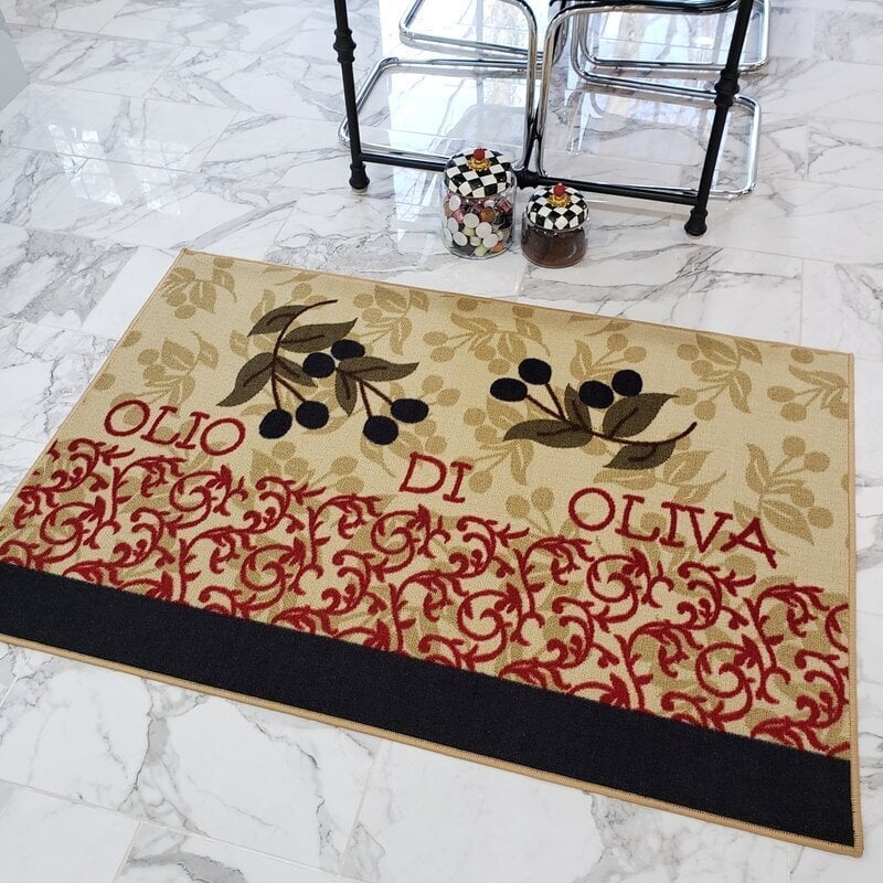 <strong>Add a Cute Olive Kitchen Mat</strong>