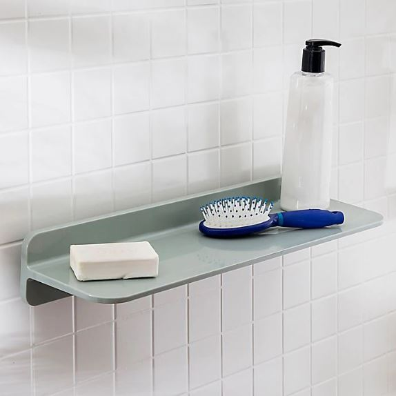 An Adhesive Floating Shelf Is Perfect for the Bathroom