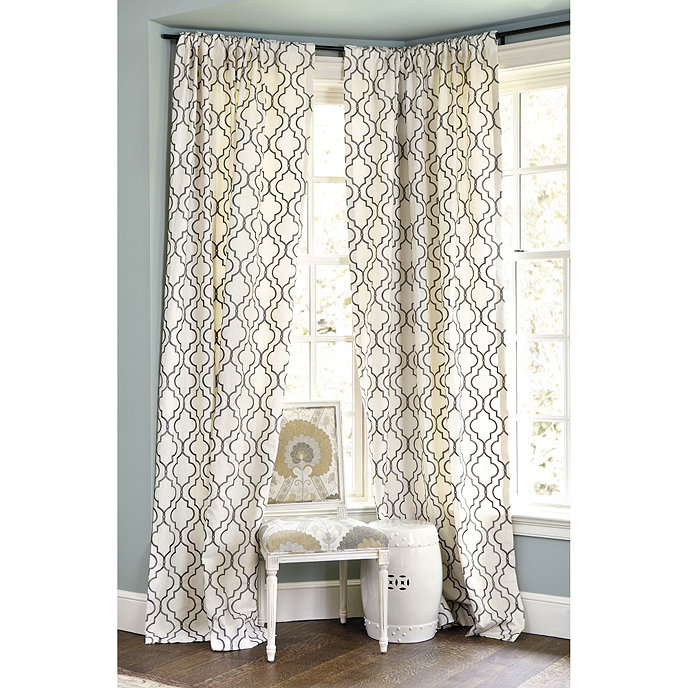 Bring In Some Pattern With White and Gray Curtains