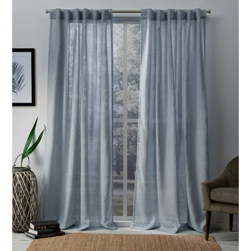Soften the Look With a Light Grayish Blue Curtain
