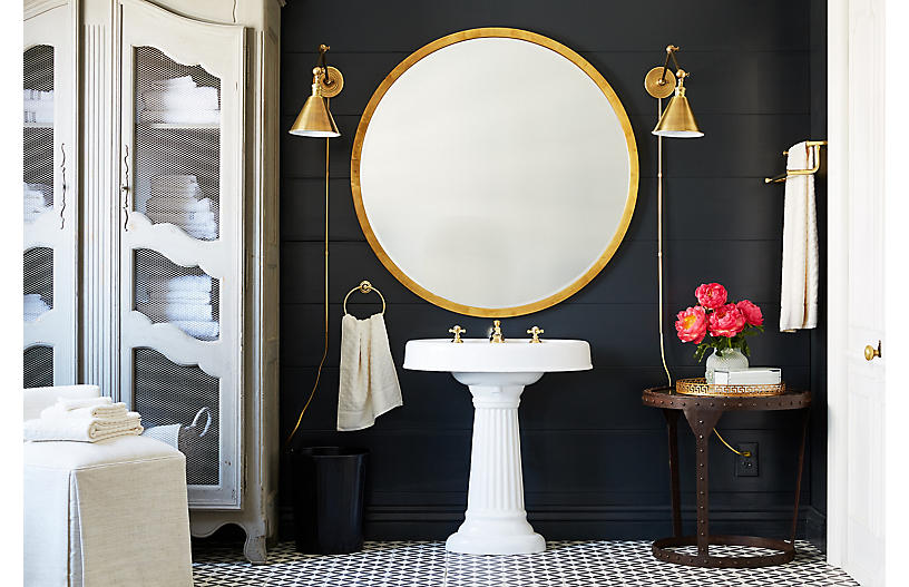 Keep It Simple With Gold Crossed Handles and Low Faucet