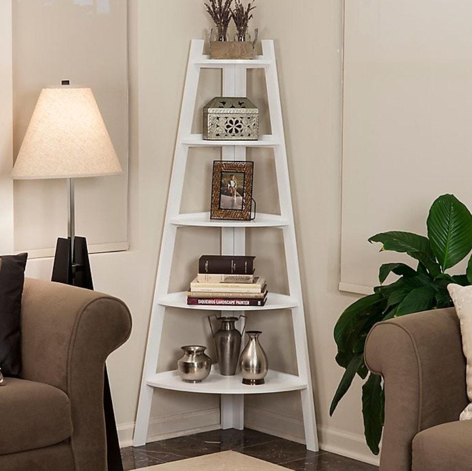 White Rounded Ladder Shelf
