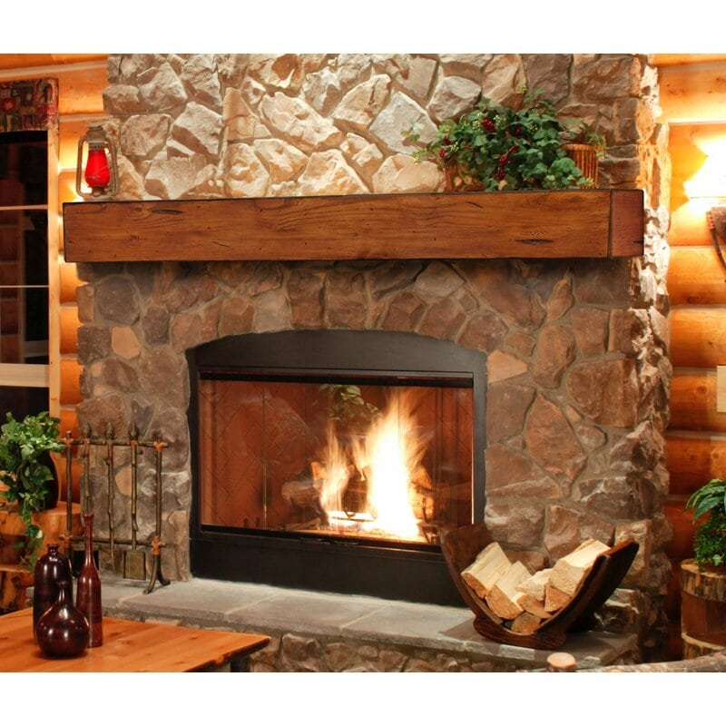 <strong>Rustic Stone Fireplace with Distressed Wood Mantel</strong>