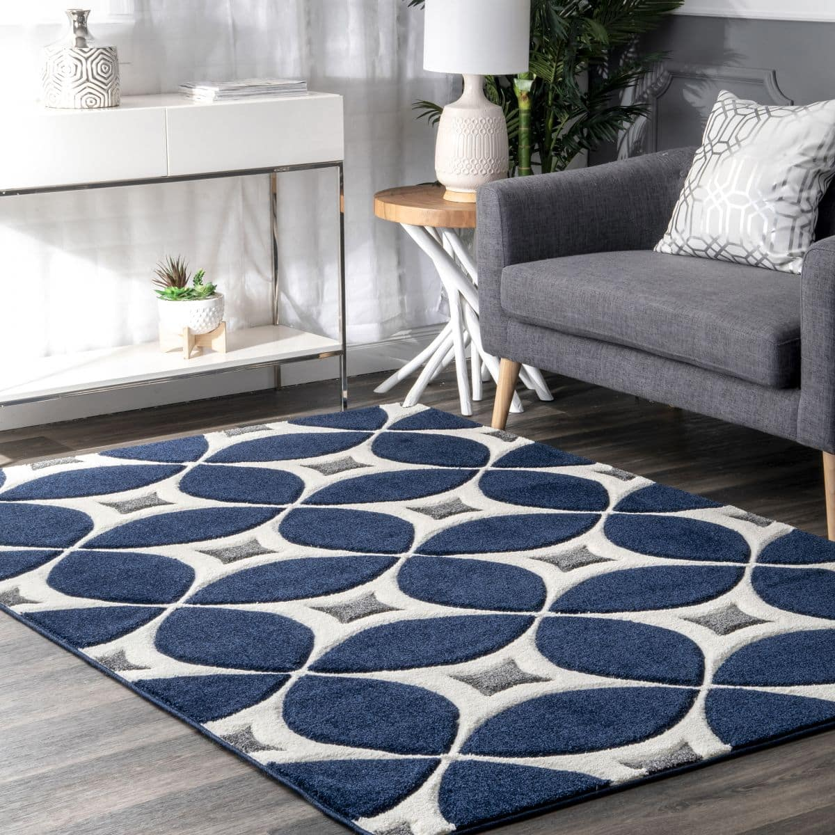 Navy, Grey and White Rug for Dark Wood Flooring