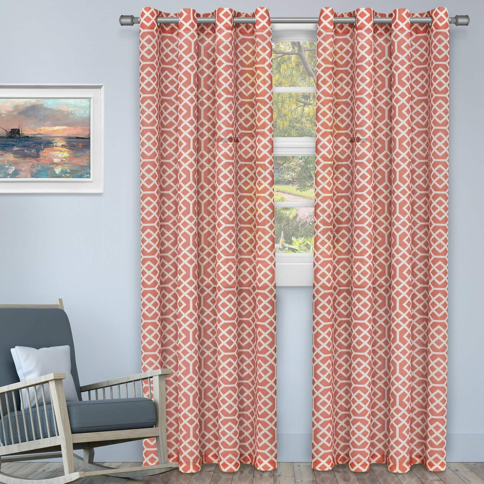 Rusty Red Curtains With Light Blue-Grey Walls