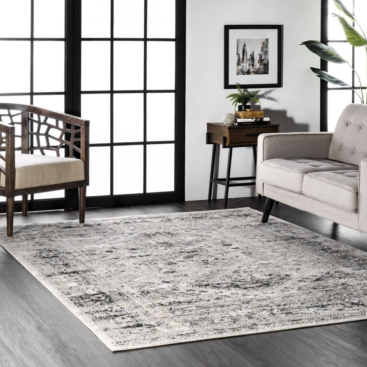 Silver Grey Rug With Dark Wood Floors for a Masculine Feel