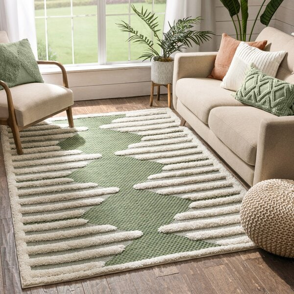Bring Nature Home With a Green and Ivory Rug