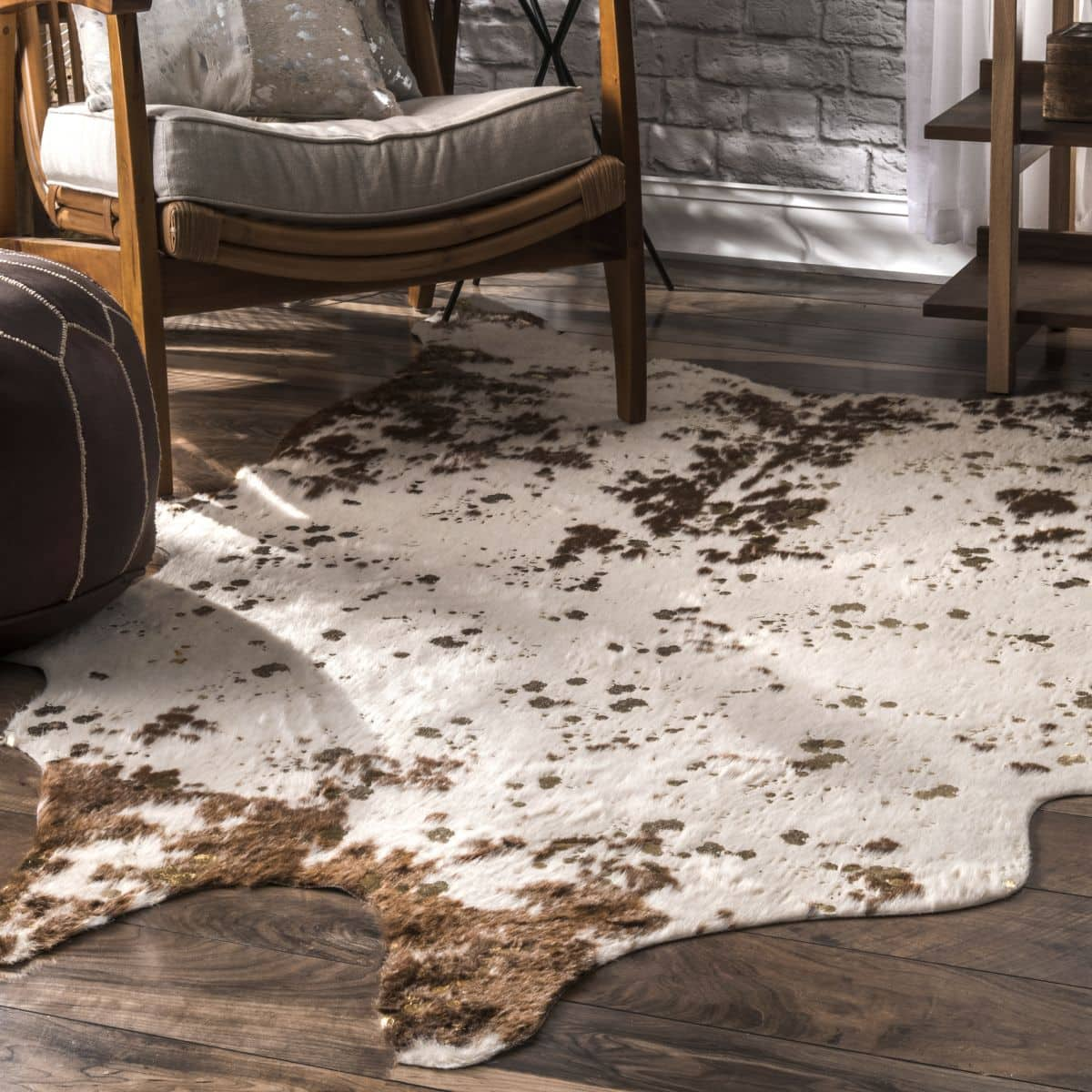 Get a Rustic Look With a Faux Cowhide Rug