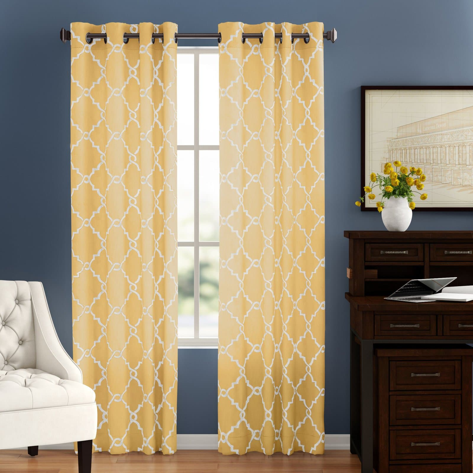 Zesty Lemon Yellow Curtains With Dark Blue Walls