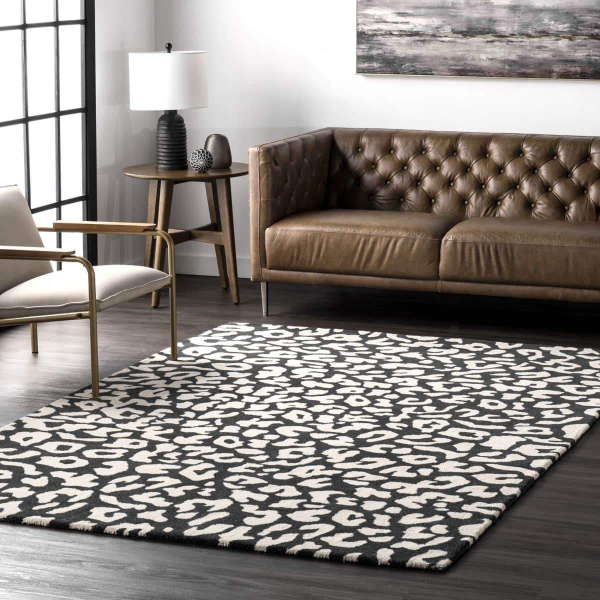 Black and White Leopard Print on Dark Wood for a Bold Statement