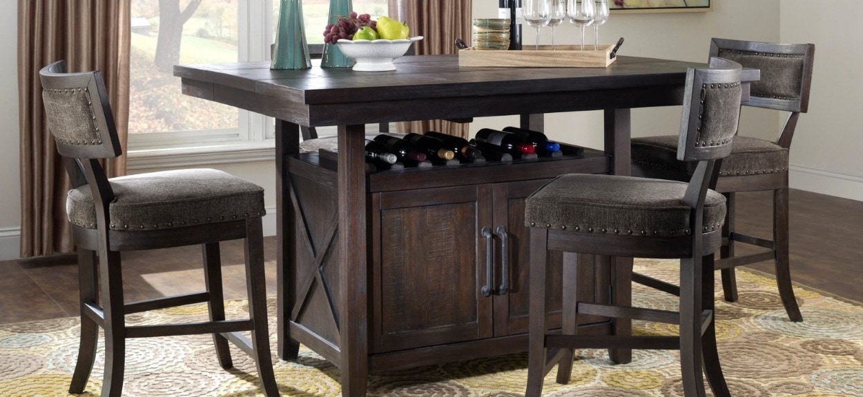 Get the Rustic Look With a Antiqued Finish Self-Storing Dining Table