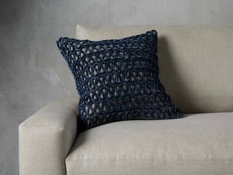 Navy Blue Velvet Linen Loop Pillow on a Light Grey Couch