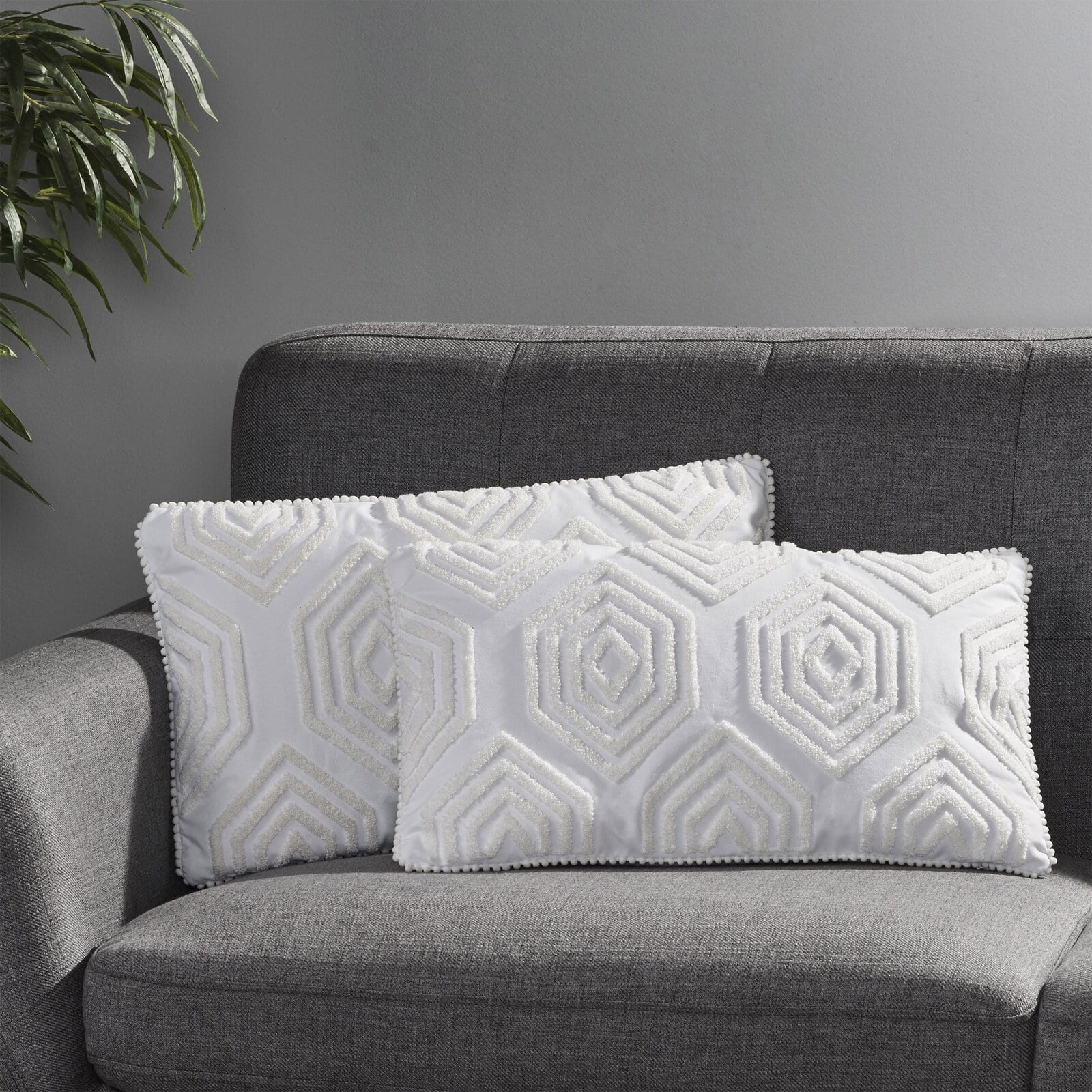 Keep it Simple With White Throw Pillows on a Grey Sofa