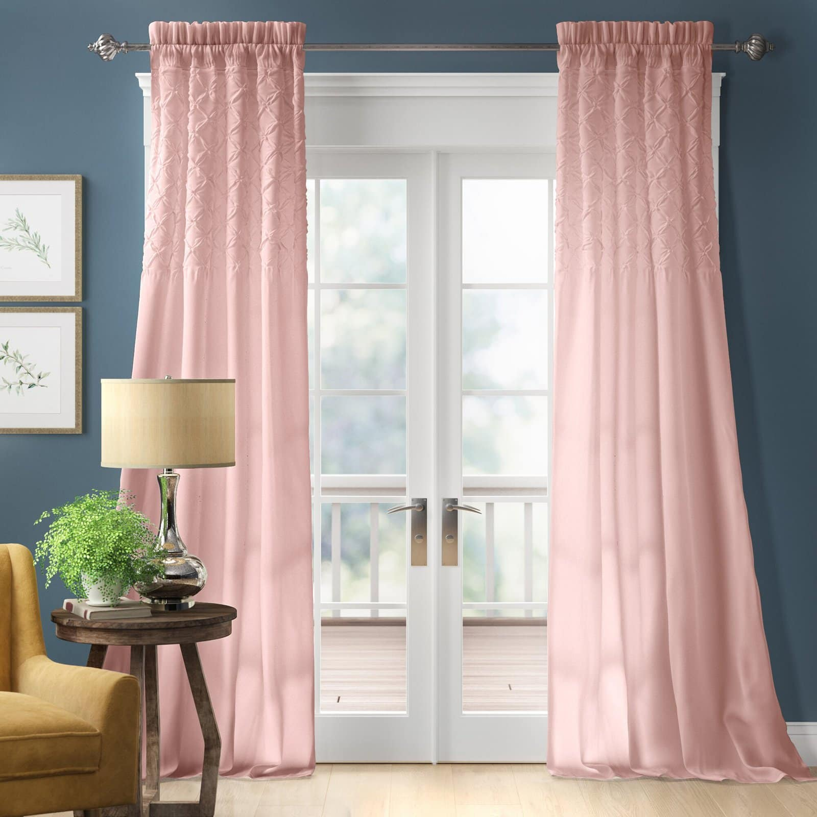Blush Pink Curtains with Deep Blue Walls