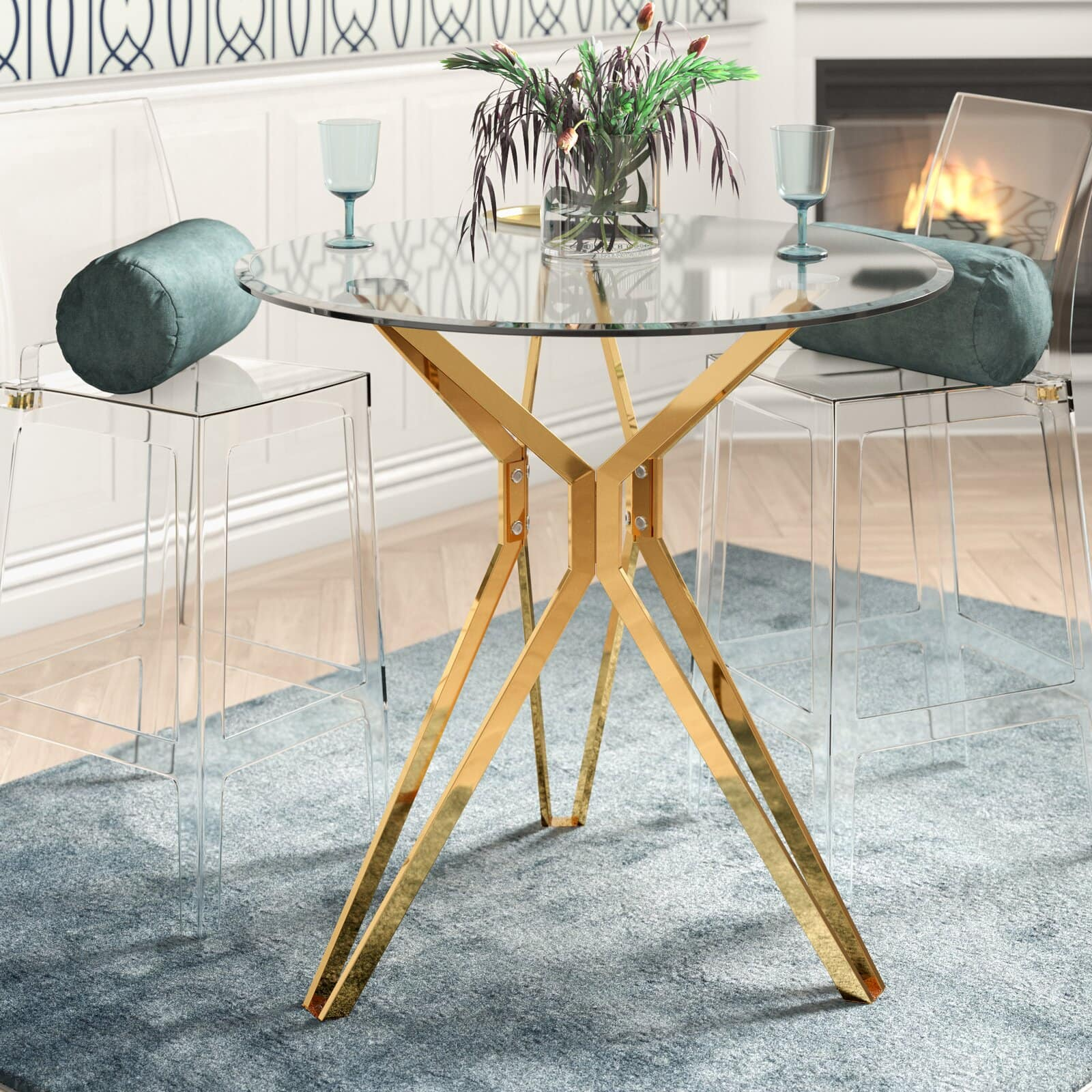 Keep it Chic With a Compact Glass and Gold Dining Table