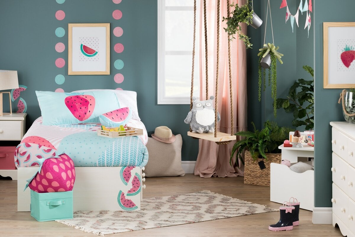 Pair Teal Walls With Blush Pink Curtains for a Playful Vibe