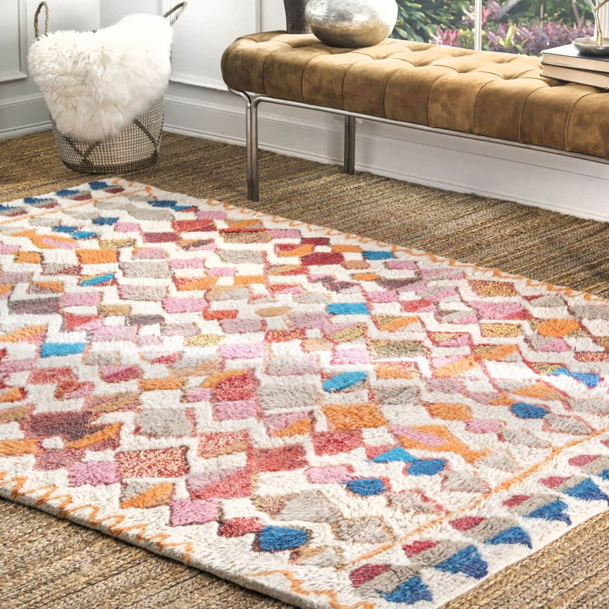 Get a Moroccan Feel With a Vibrant Moroccan Diamond Shag Rug