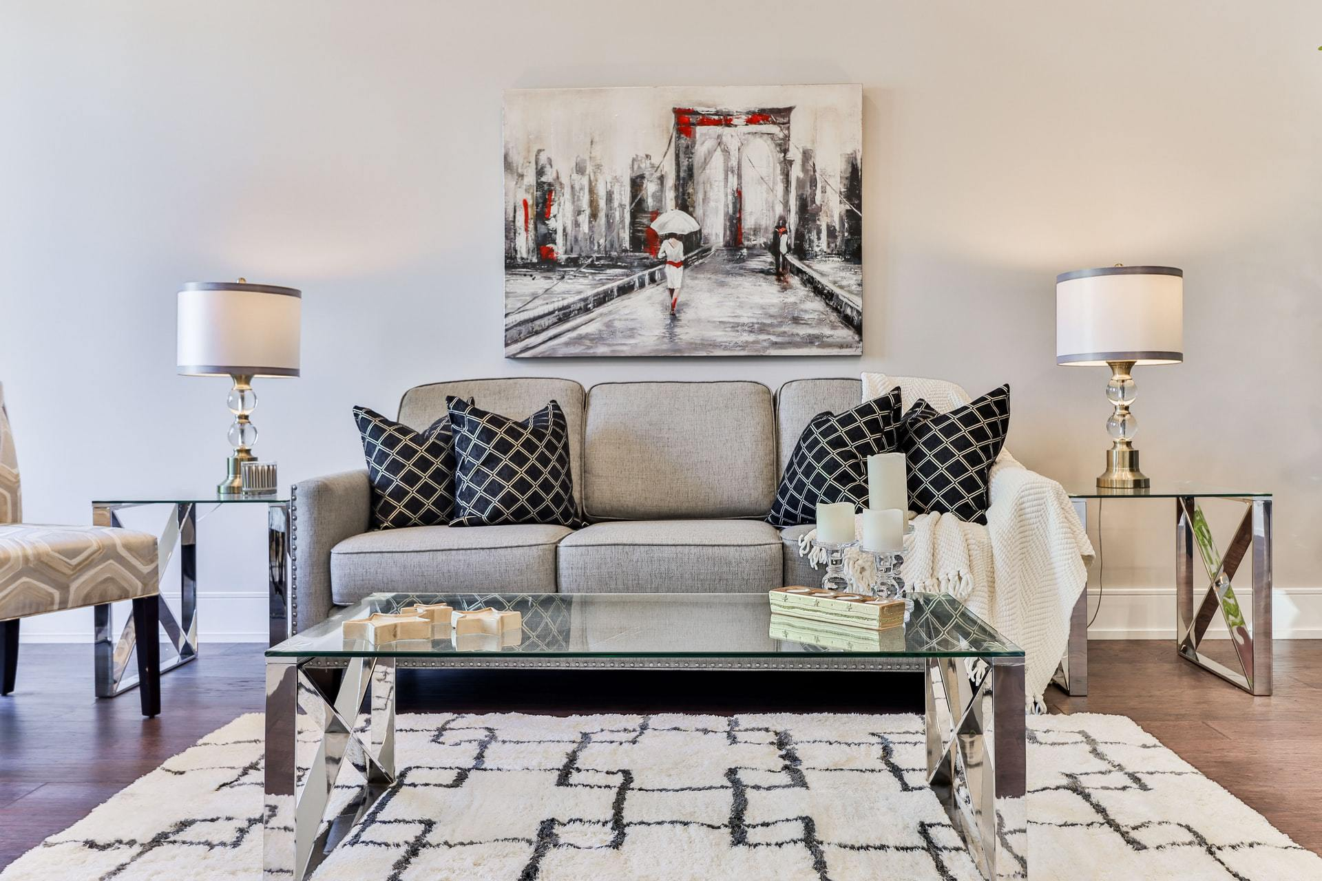Look Smart With Black Patterned Throw Pillows on a Grey Couch