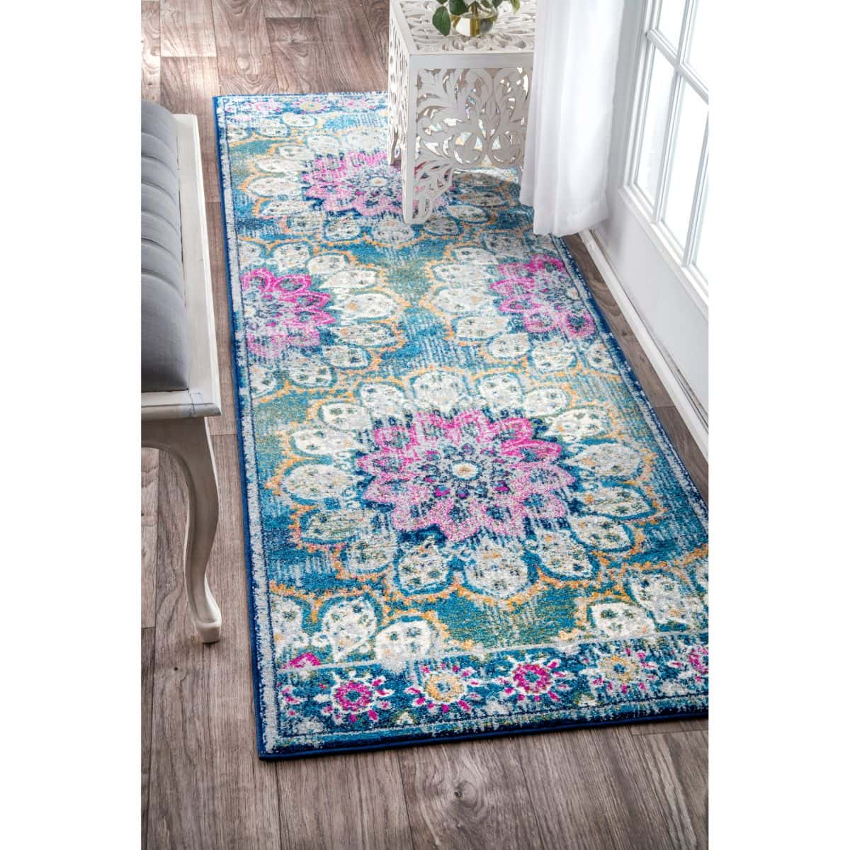 Add a Feminine Touch to a Small Entryway With This Turquoise Floral Runner Rug