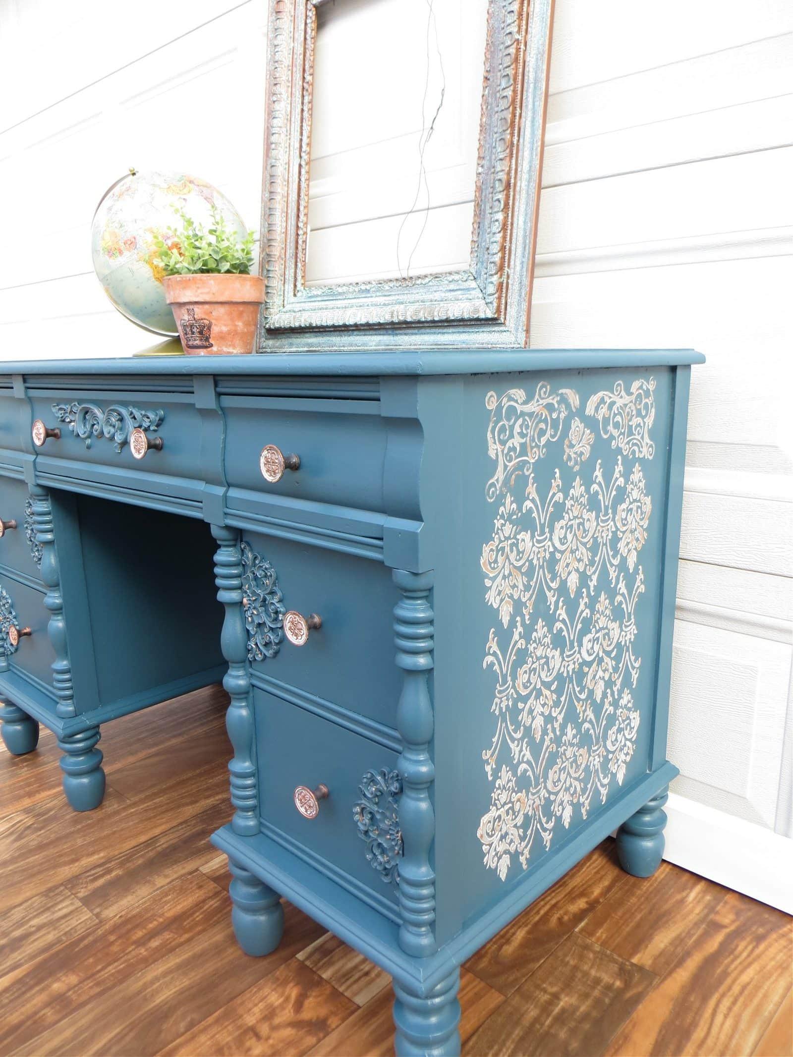 antique desk raised stencil side scaled
