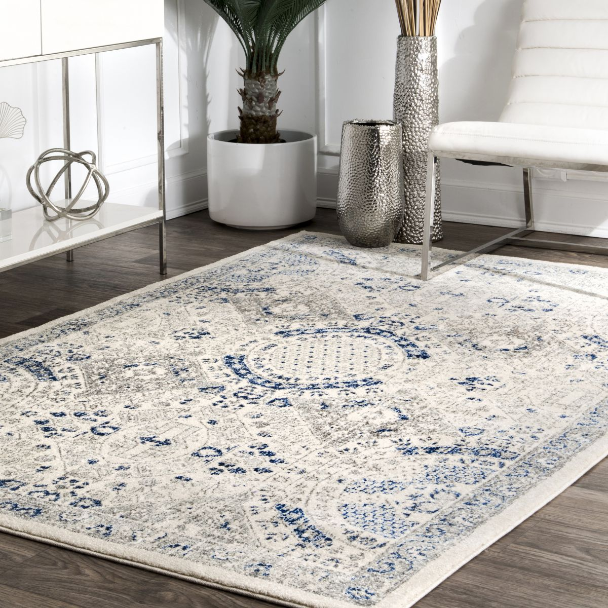 Blue Honeycomb Labyrinth Patterned Rug