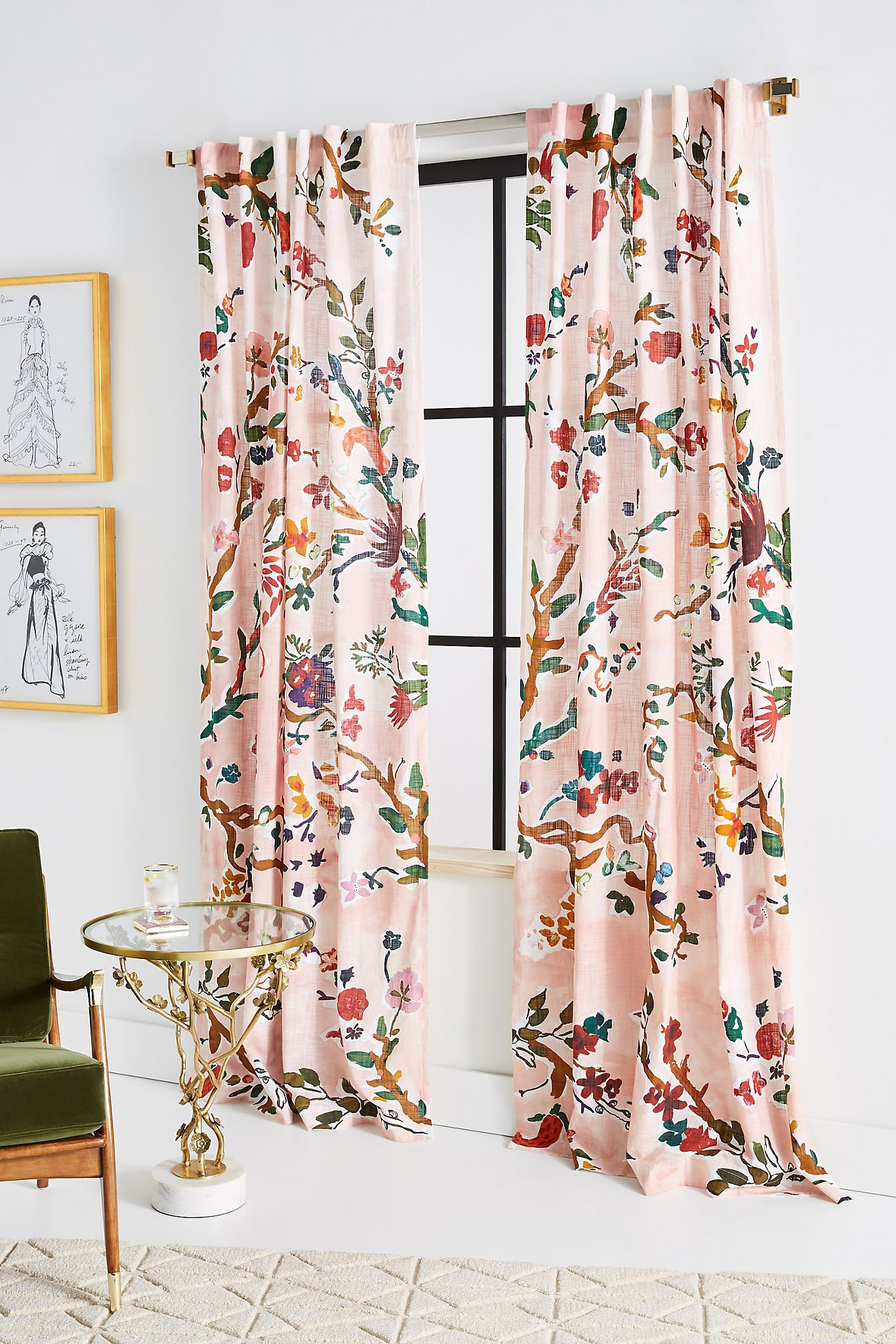 Bright Floral Curtains With White Walls