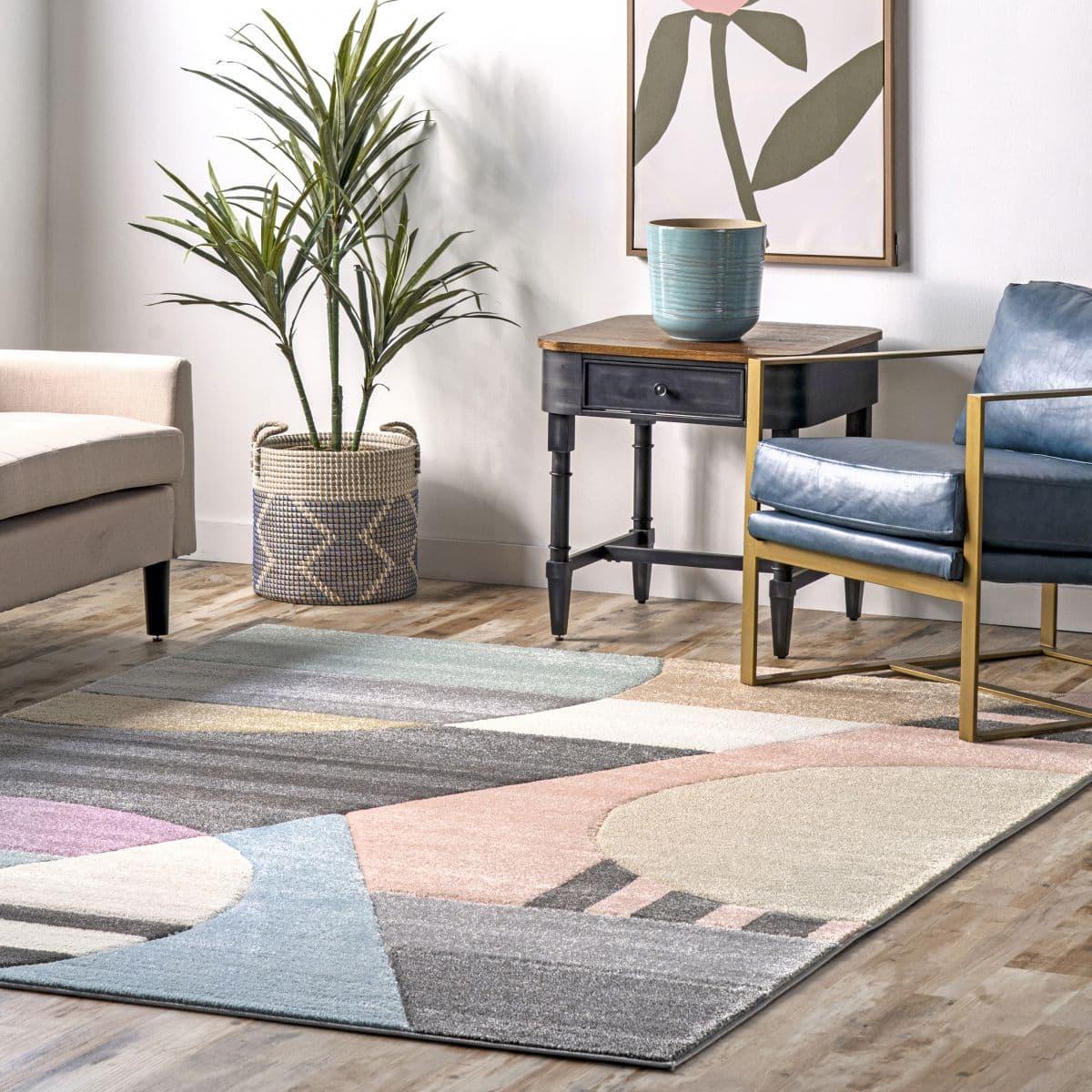 Gray Modern Abstract Area Rug