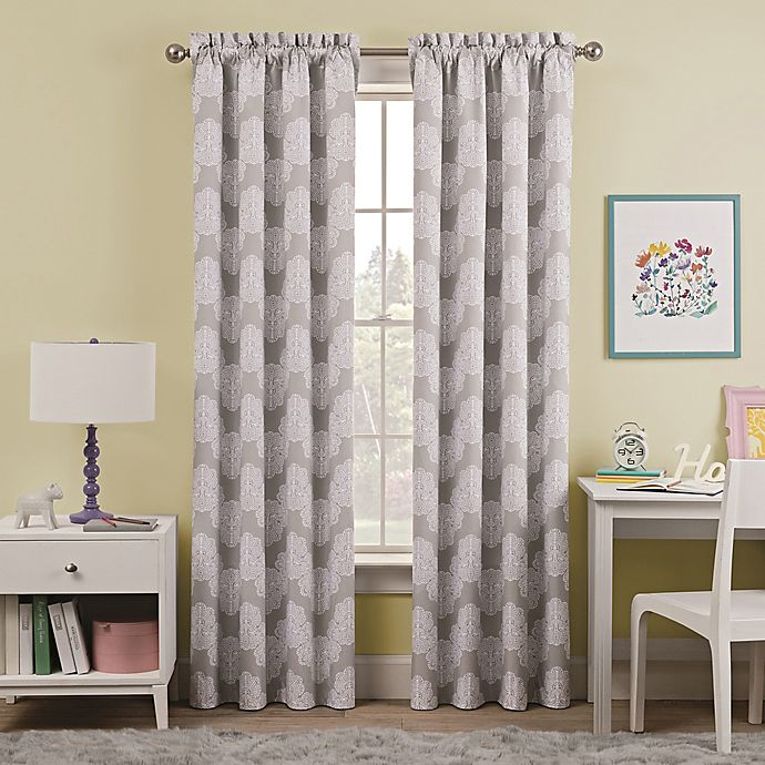 Grey And White Patterned Curtains With Yellow Walls