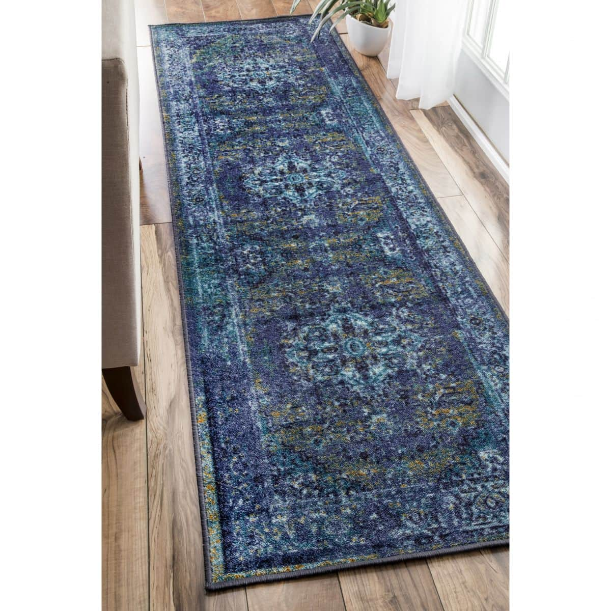Overdyed Blue Persian Area Rug