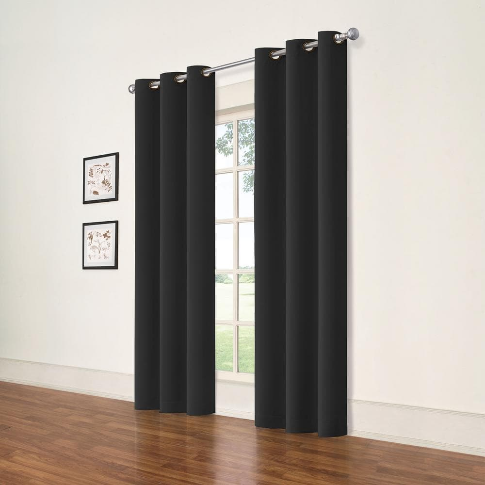 Black Curtains on White Walls For a Striking Contrast