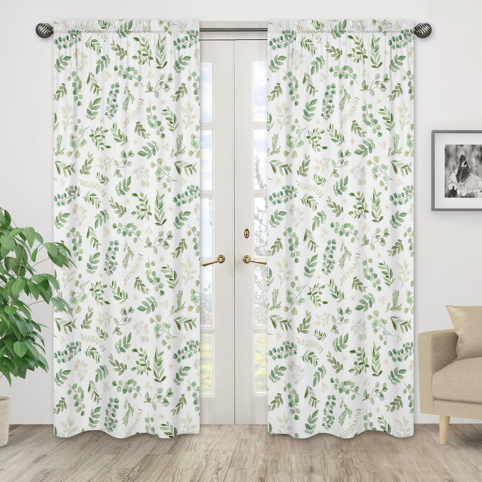 Botanical Green and White Curtains