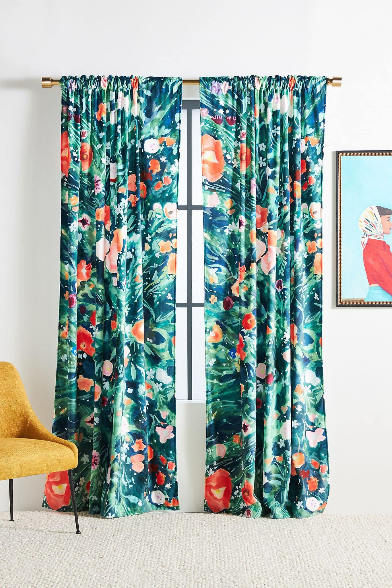 Vibrant Floral Curtains With White Walls