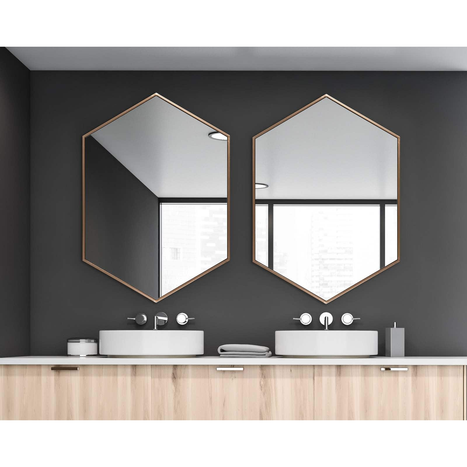 Hexagonal Metal Wall Mirror