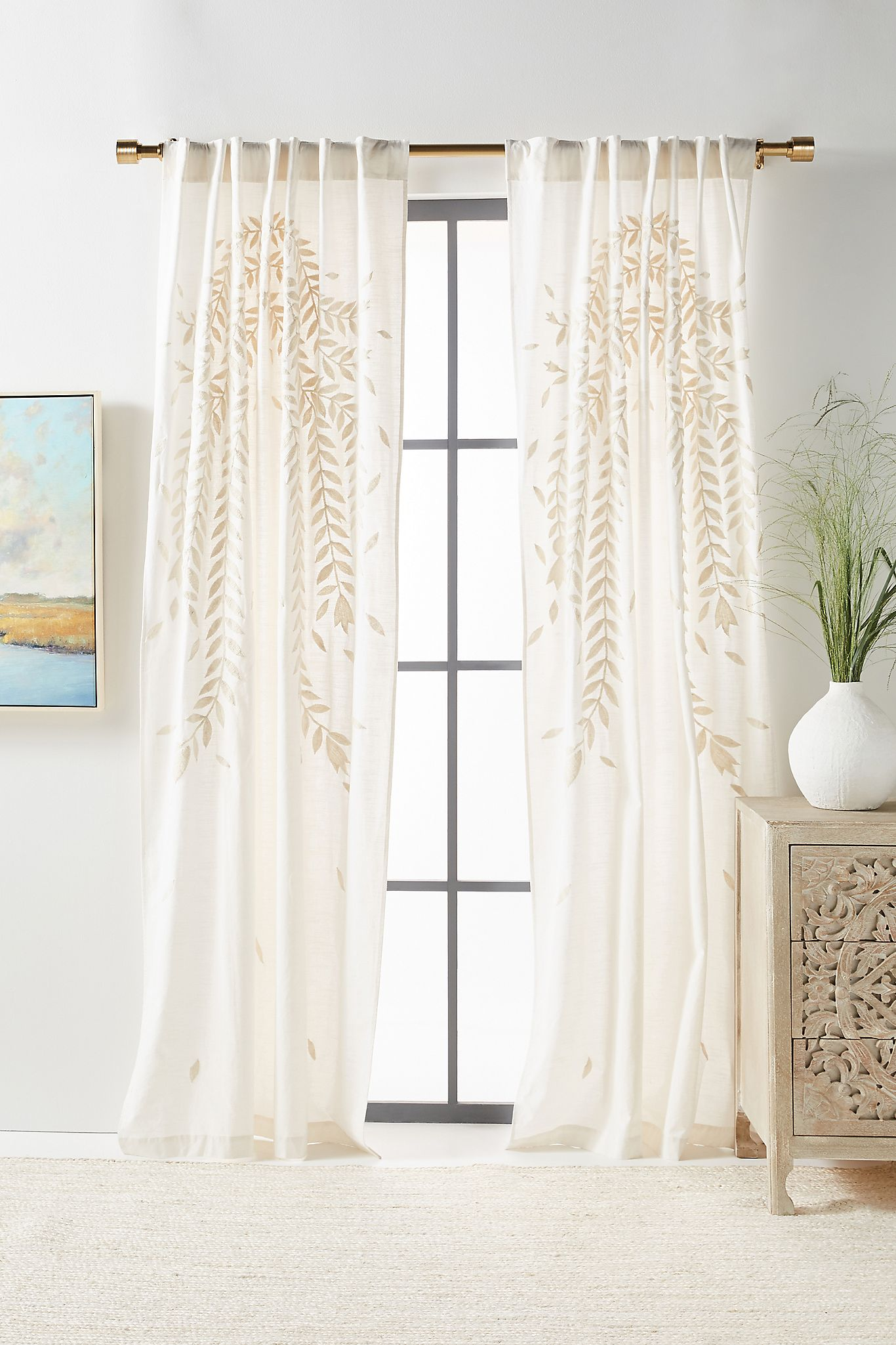 White Embroidered Curtains