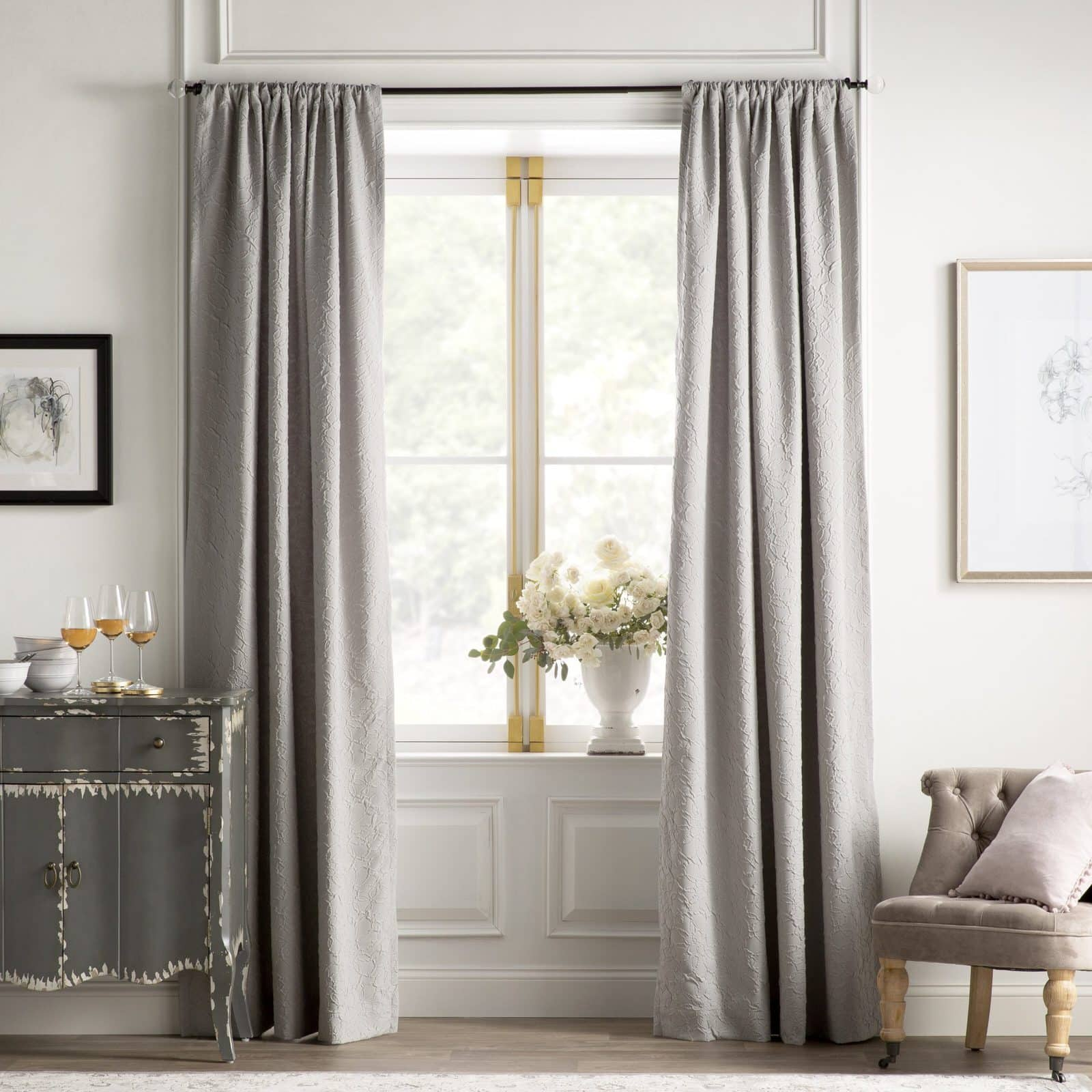 French Country Chic: Grey Embellished Curtains