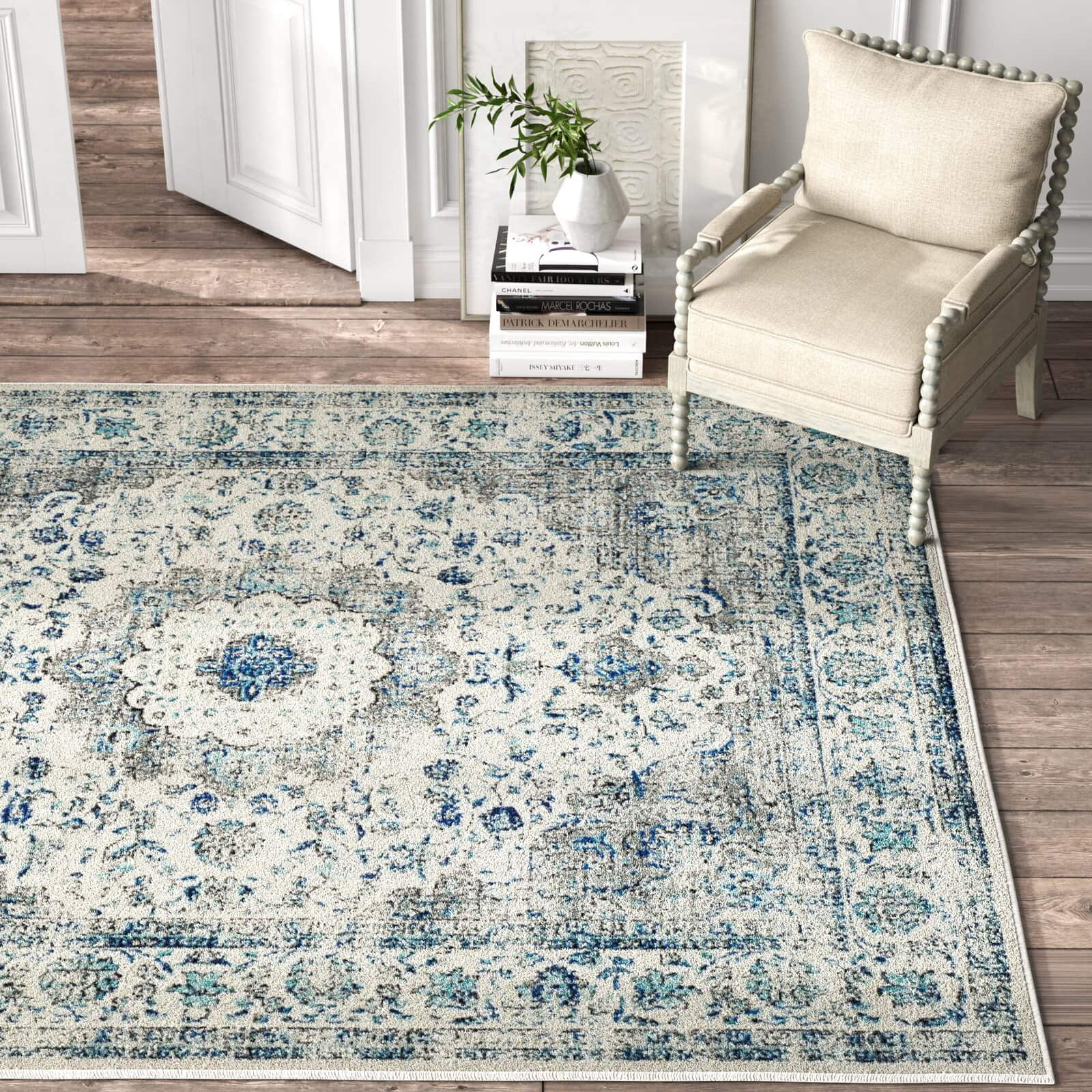 Ivory and Grey Oriental Area Rug