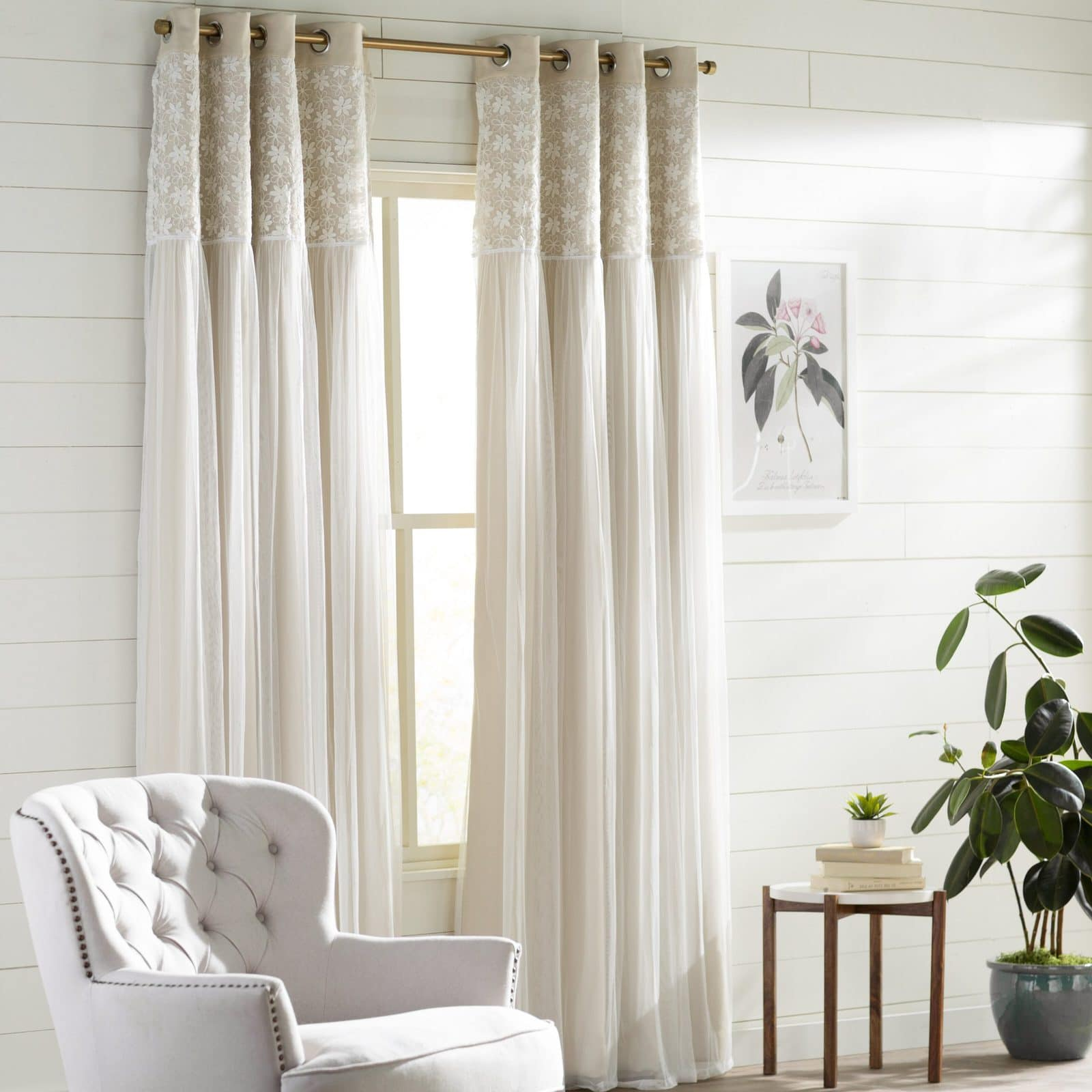 A Touch of Whimsy With White Lace Overlay Curtains