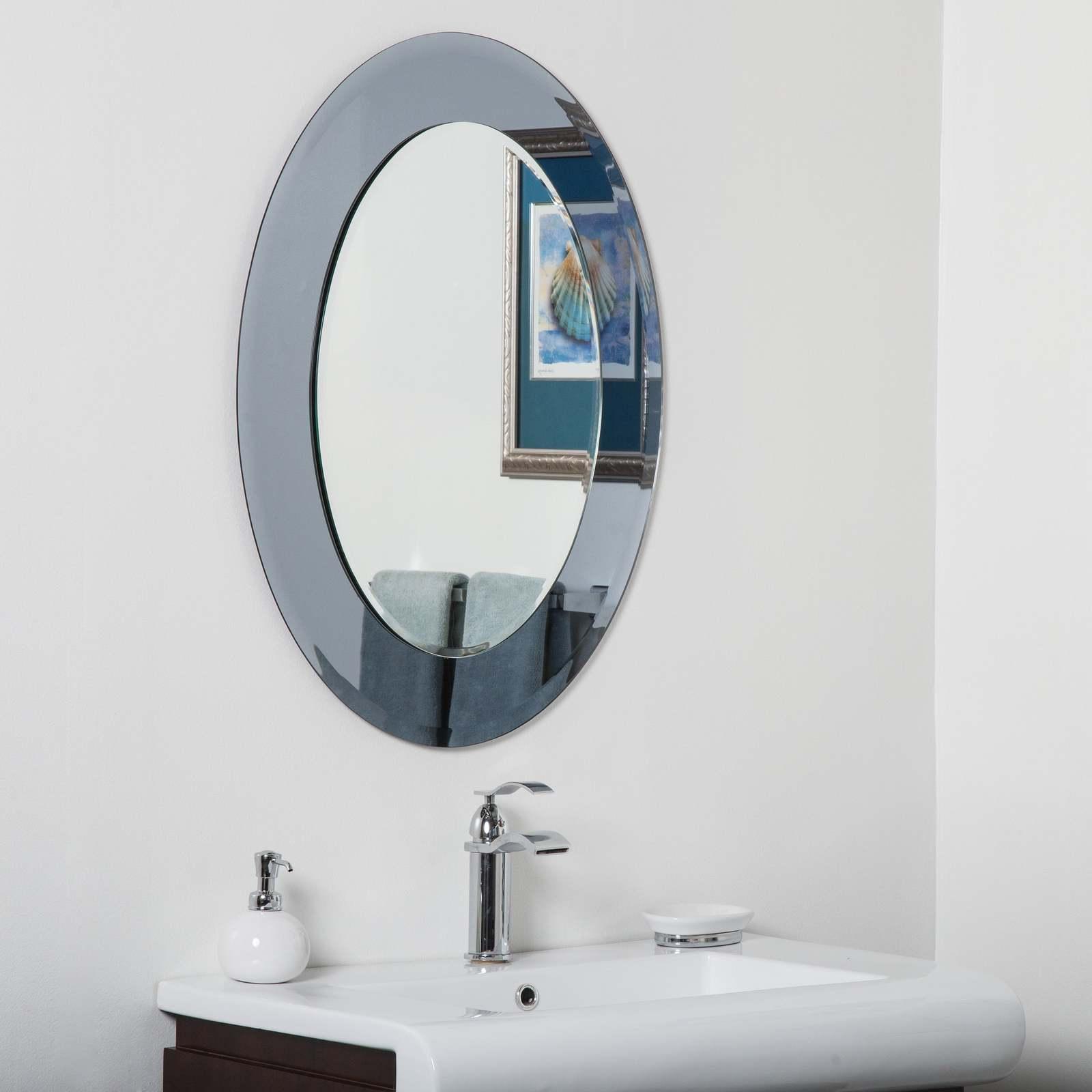 Cayman Glass Beveled Round Bathroom Mirror