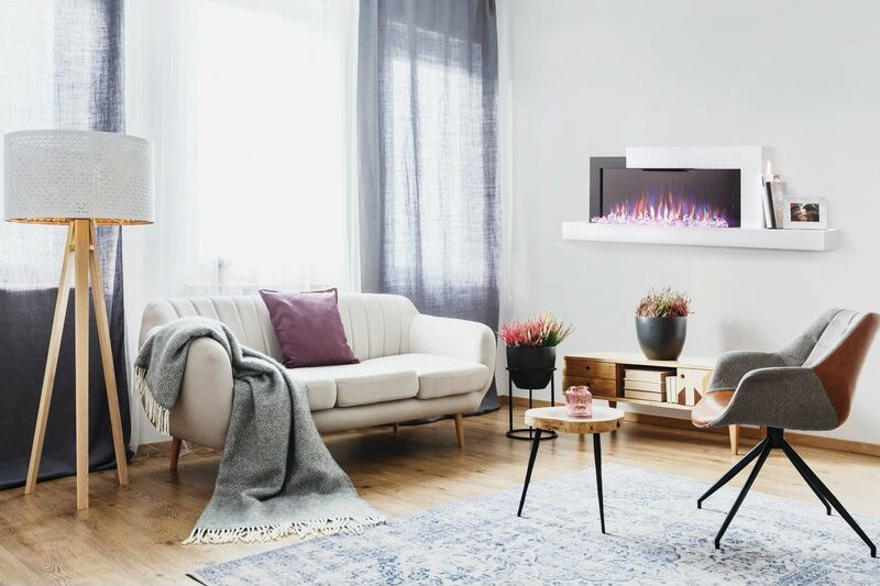 <strong>Modern Minimalistic Wall-Mounted Fireplace</strong>