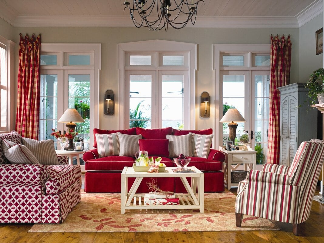 Botanical Crimson Red and Beige Rug