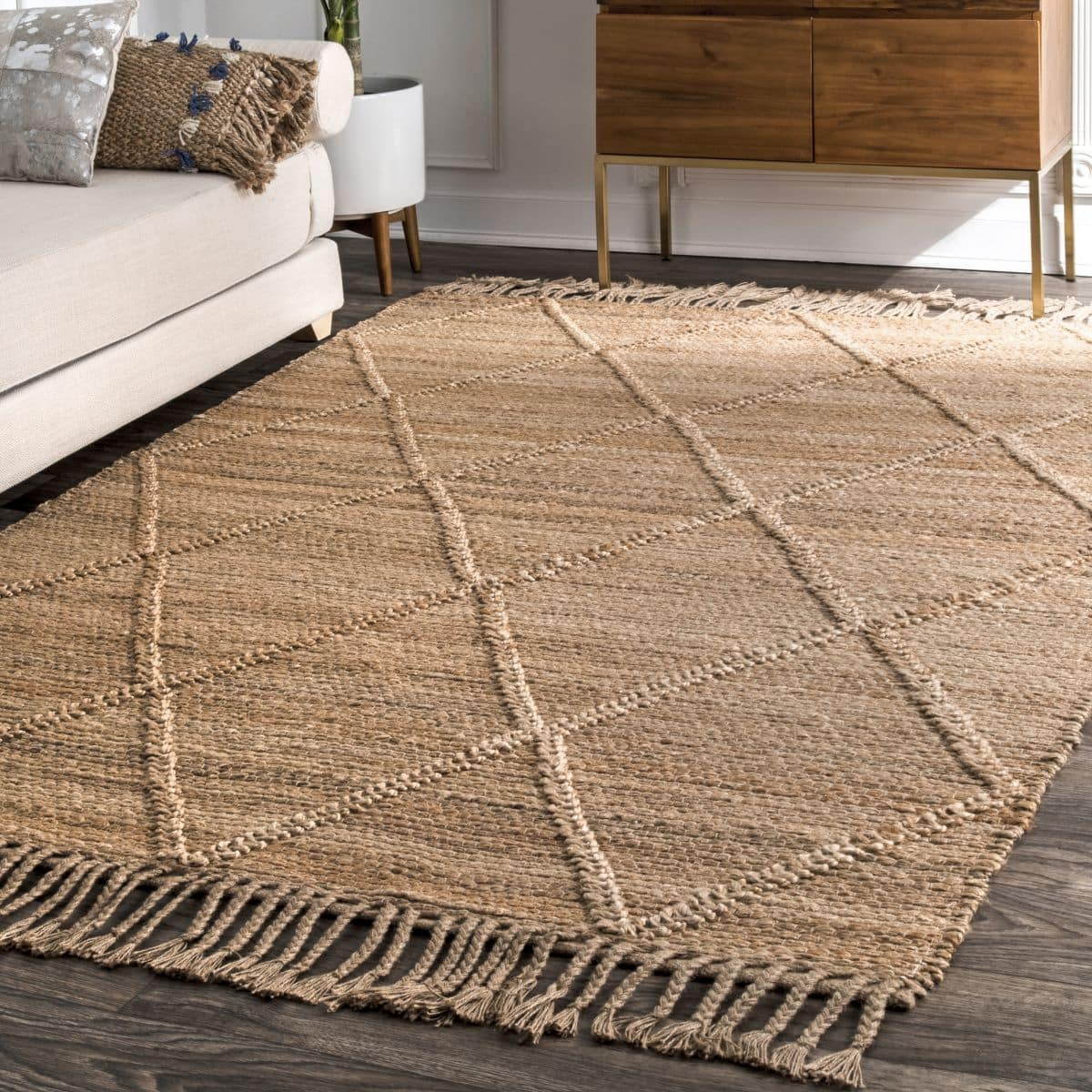 Natural Braided Treillage Area Rug With Tassels