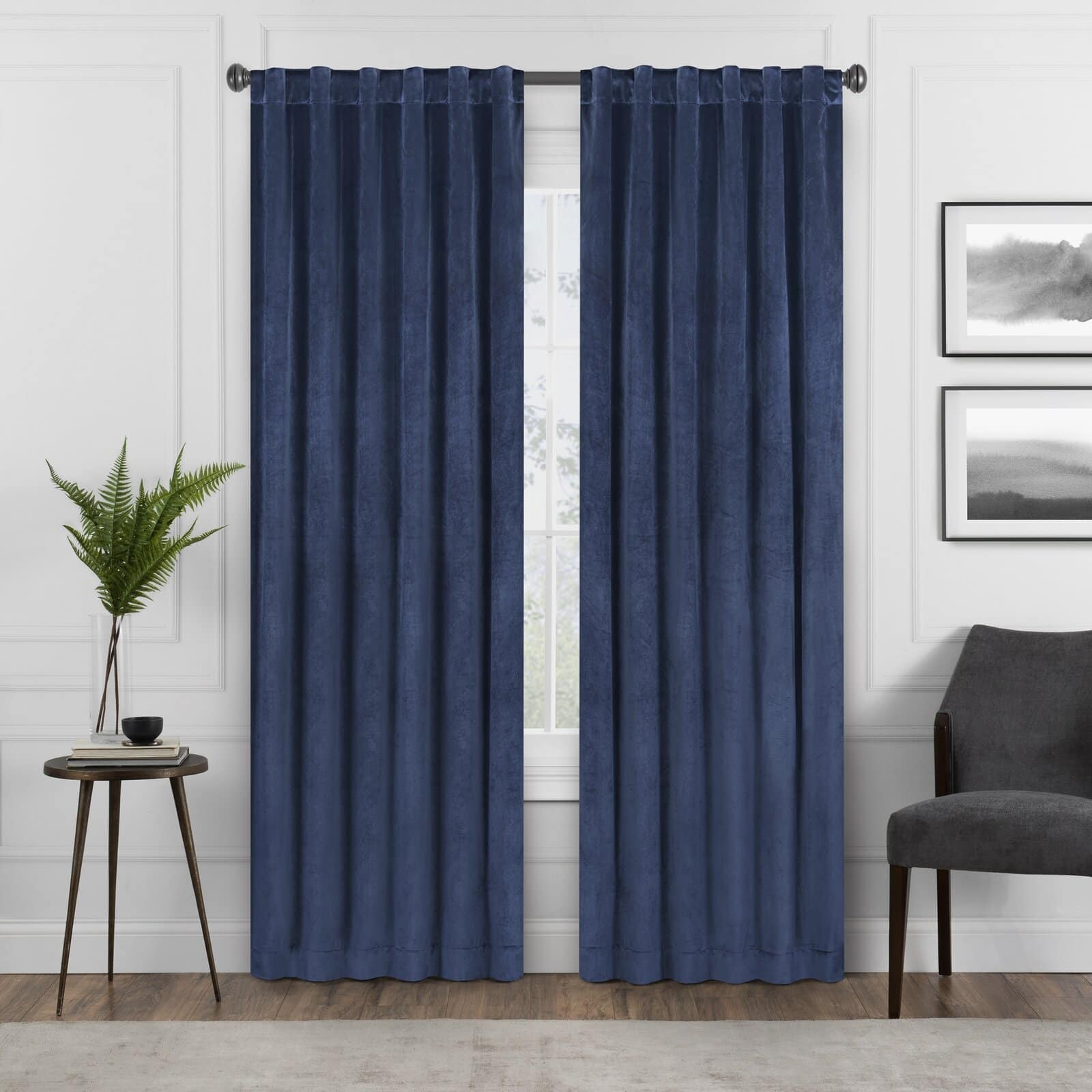 Navy Blue Curtains With White Walls for a Smart Look