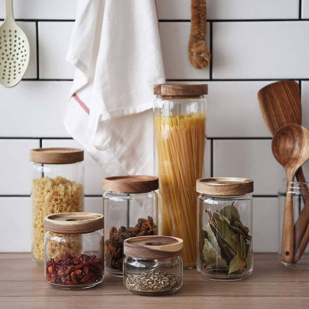Glass Storage Jars With Wooden Lids