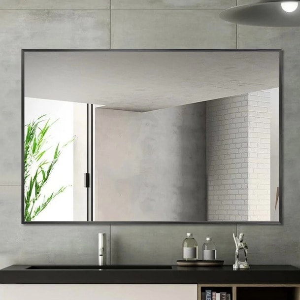 Large Industrial Style Wall Mounted Bathroom Mirror