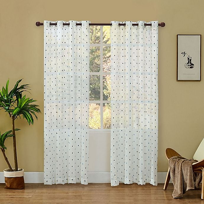 White Embroidered Curtains With Mustard Yellow Walls
