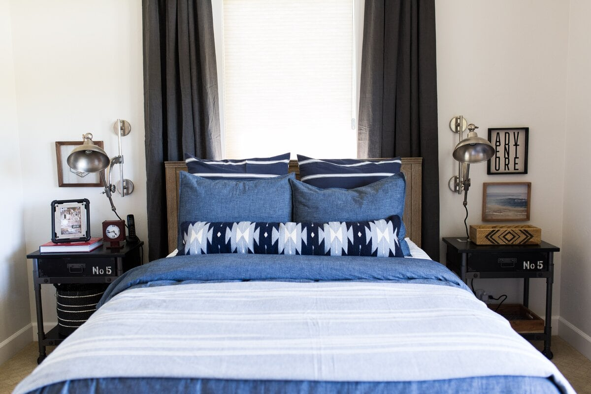 Blue Bed And Grey Accents